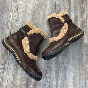 Jambu Waterproof Brown Fur Ankle Bootie Size 7